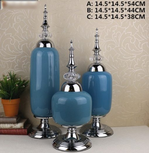 Gümüş Ayaklı Mavi Salon Aksesuarı