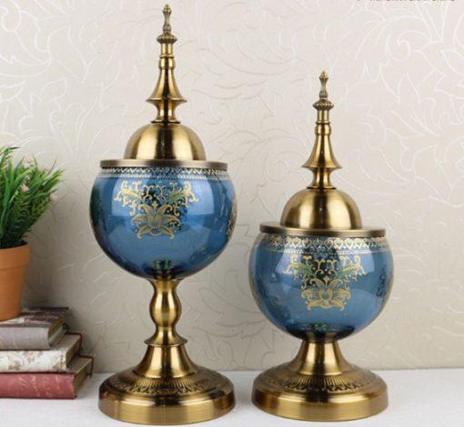 Altın Kapaklı Cam Salon Aksesuarı