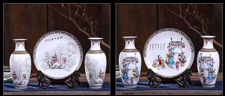 Vazo ve Dekoratif Tabaktan Oluşan Çin Stili Süs Eşyası